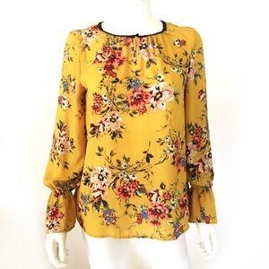 Zac & Rachel golden mustard floral peasant blouse